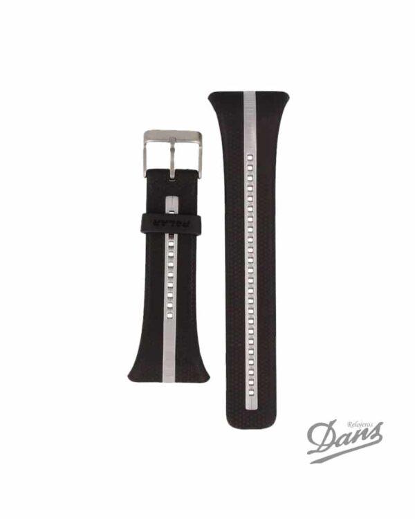 Recambio correa Polar FT7-FT4 original en negro y plata Dans Relojeros