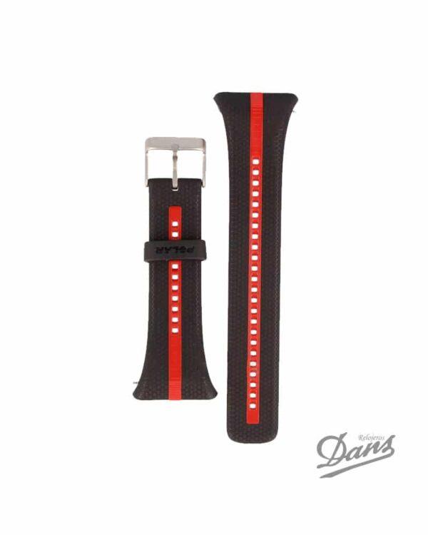 Recambio correa Polar FT7-FT4 original en negro y rojo Dans Relojeros
